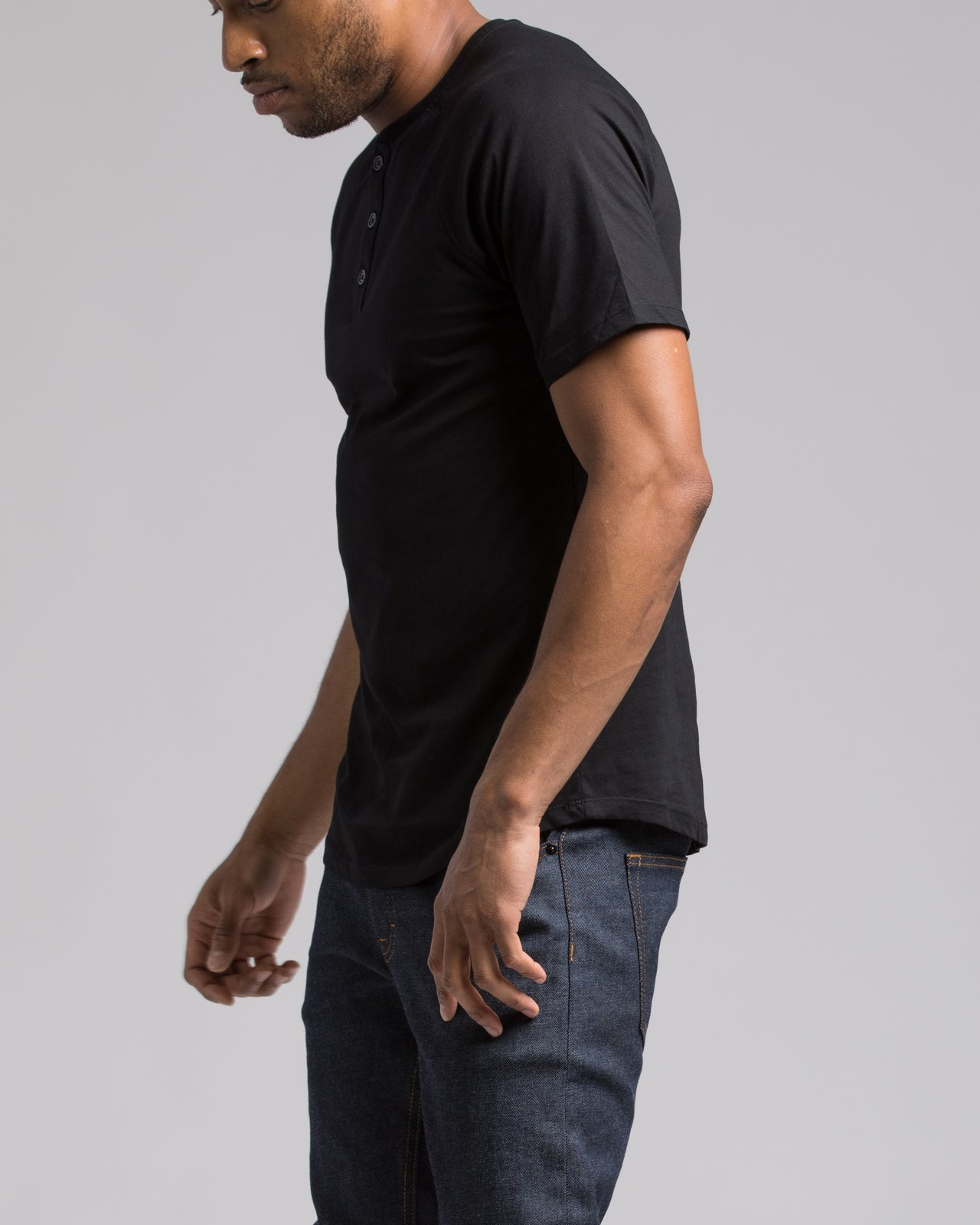 Short Sleeve Henley - Color: Black | Black