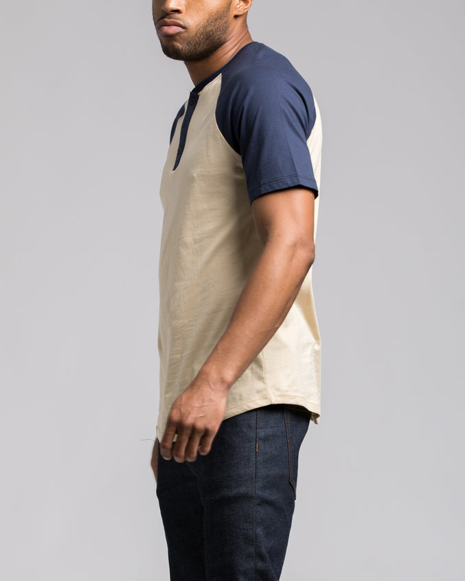 Short Sleeve Henley - Color: Navy/Khaki | Beige