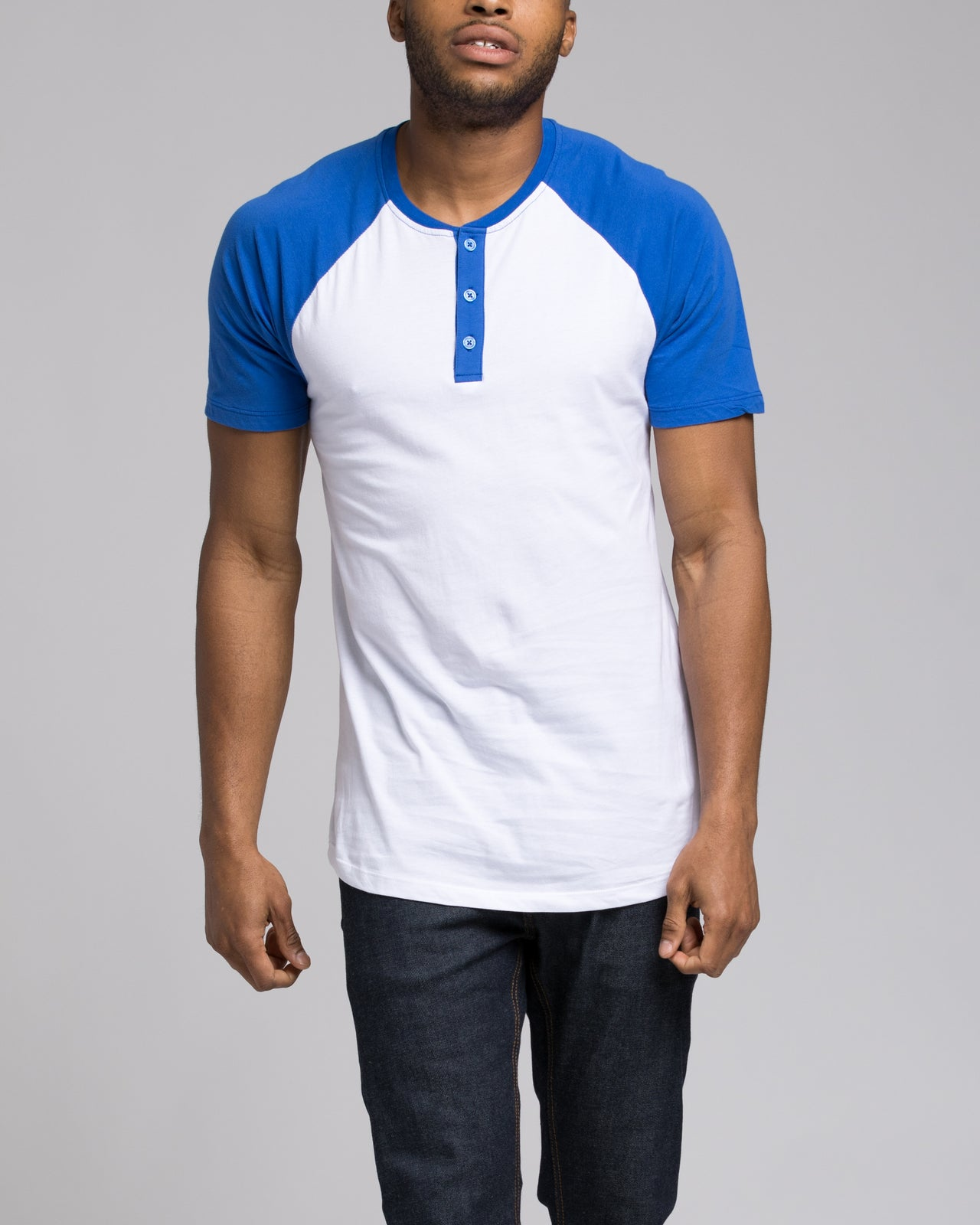 Short Sleeve Henley - Color: Royal/White | White