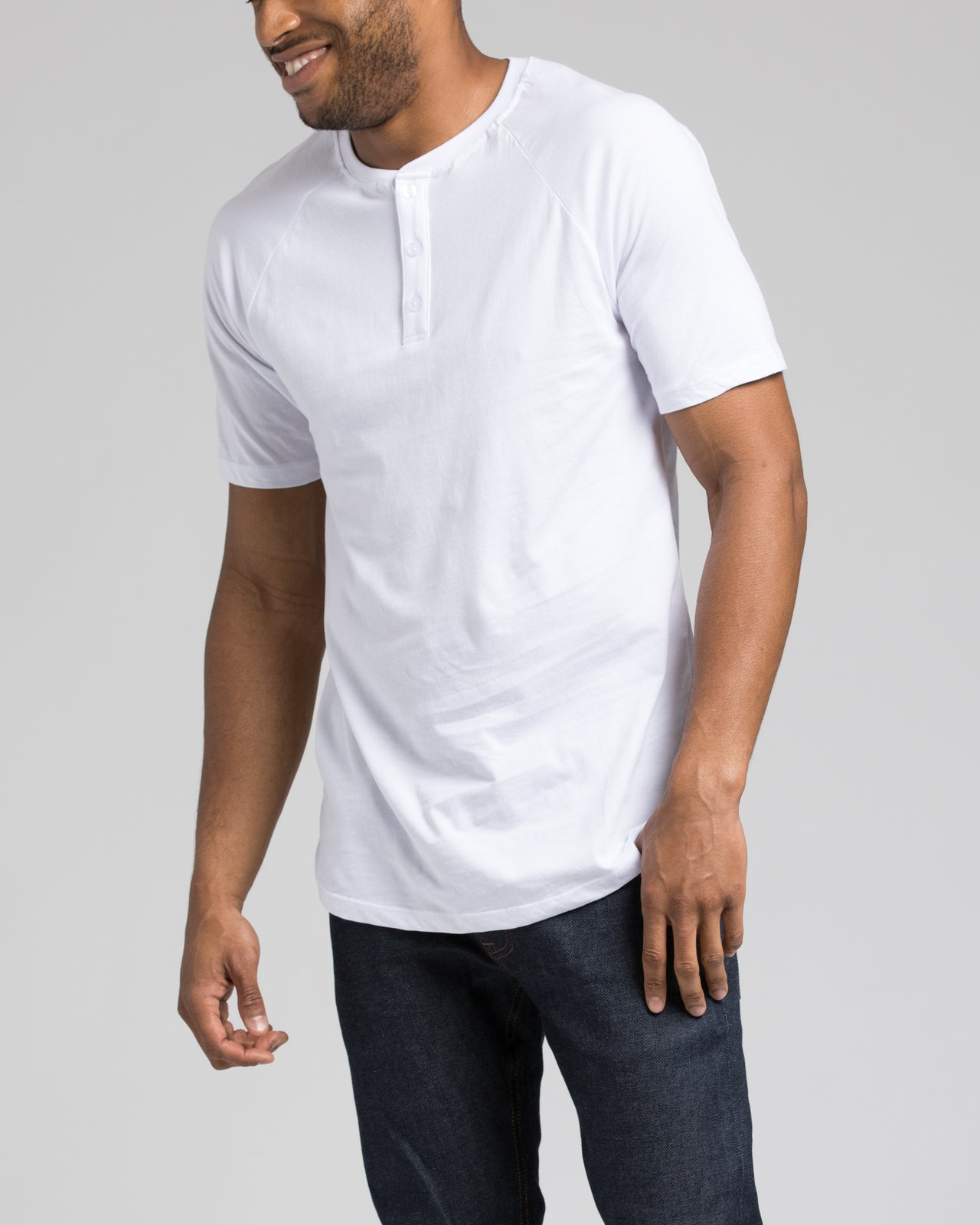 Short Sleeve Henley - Color: White | White