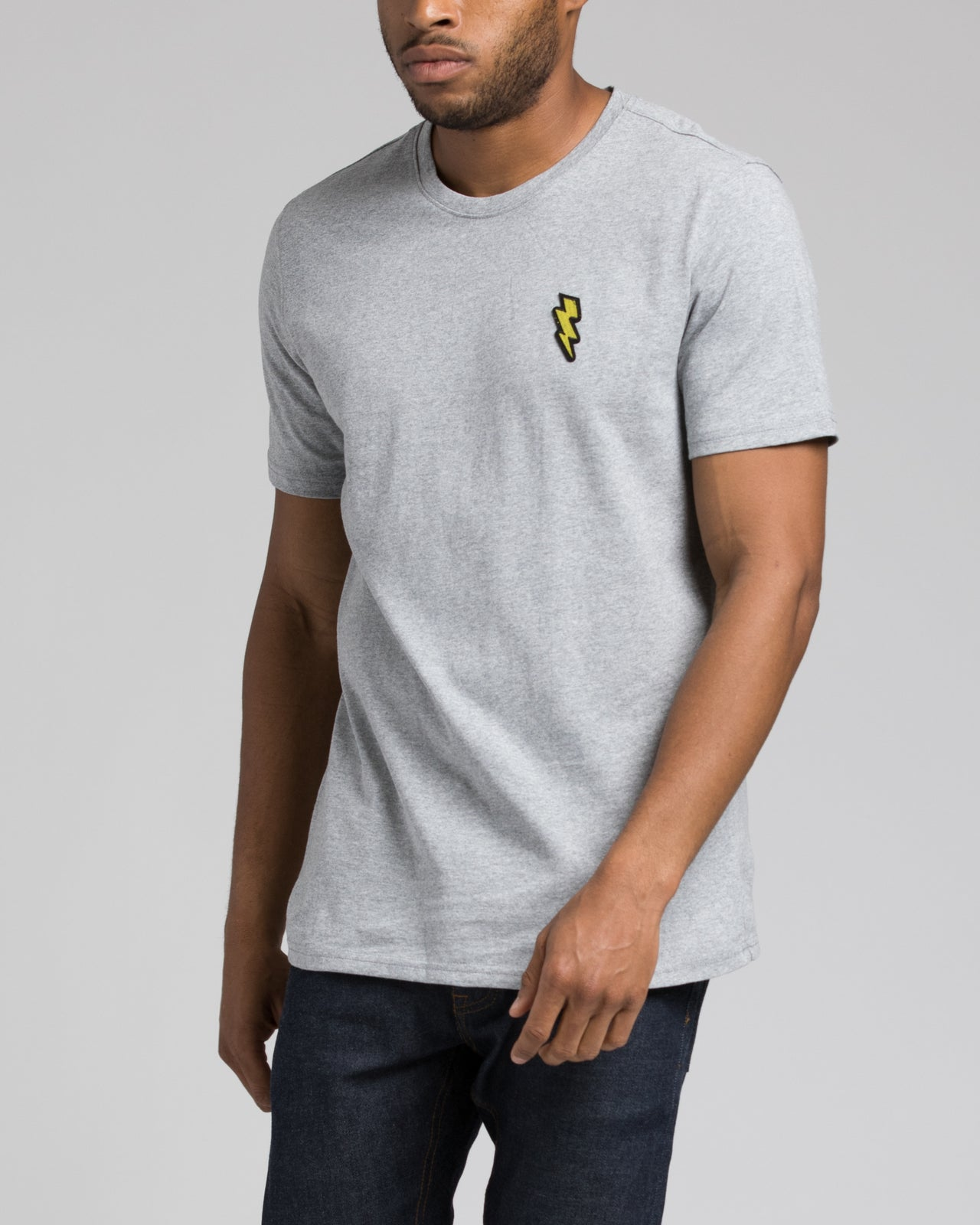 Lightning Patch Tee - Color: Heather Gray | Gray