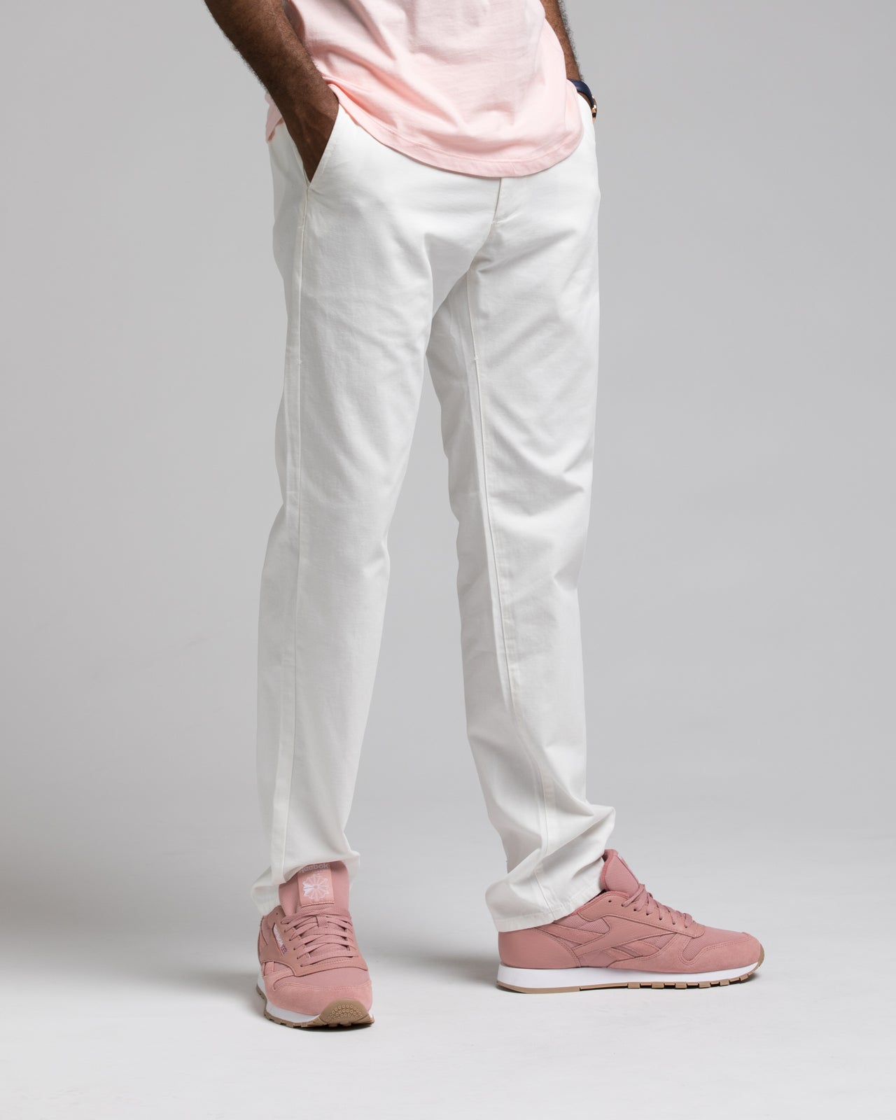 SKINNY CHINO PANTS - Color: WHITE | White
