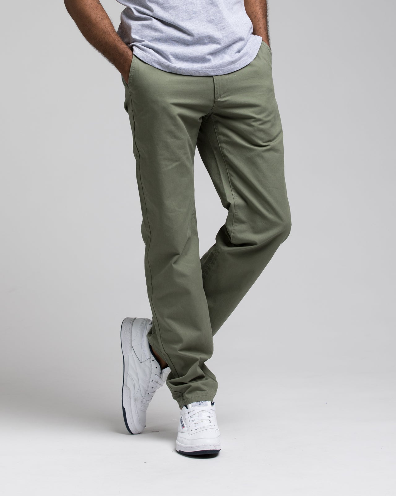 SKINNY CHINO PANTS - Color: OLIVE | Green