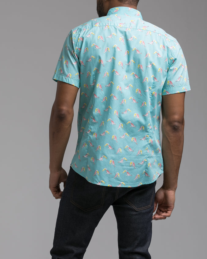 Short Sleeve Birds Shirt - Color: Teal | Blue
