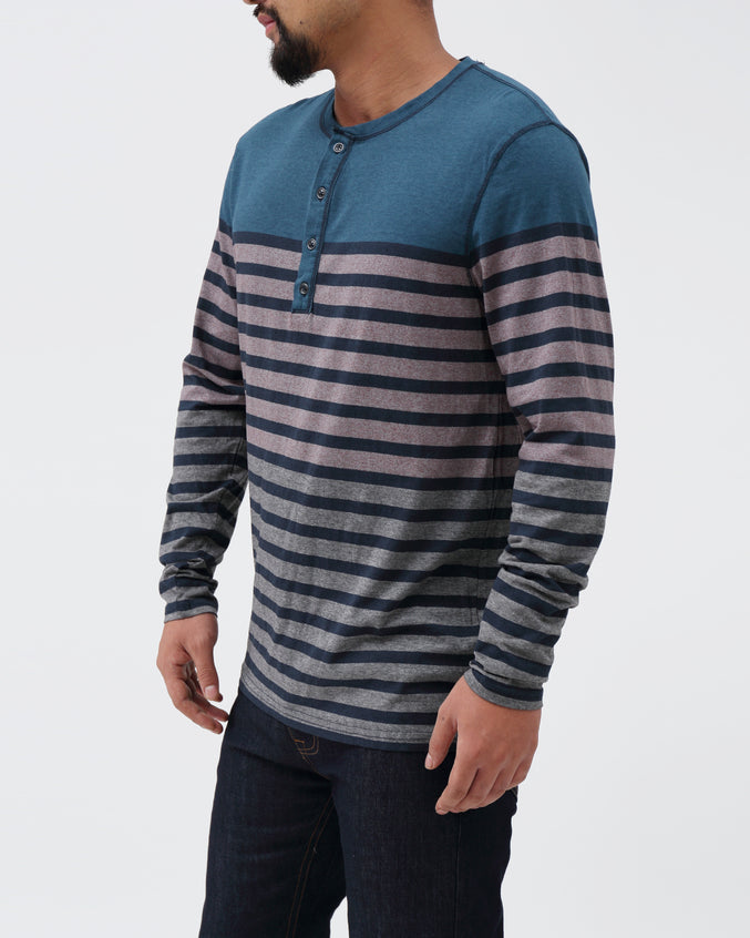 Striped LS Henley - Color: Hydro | Blue