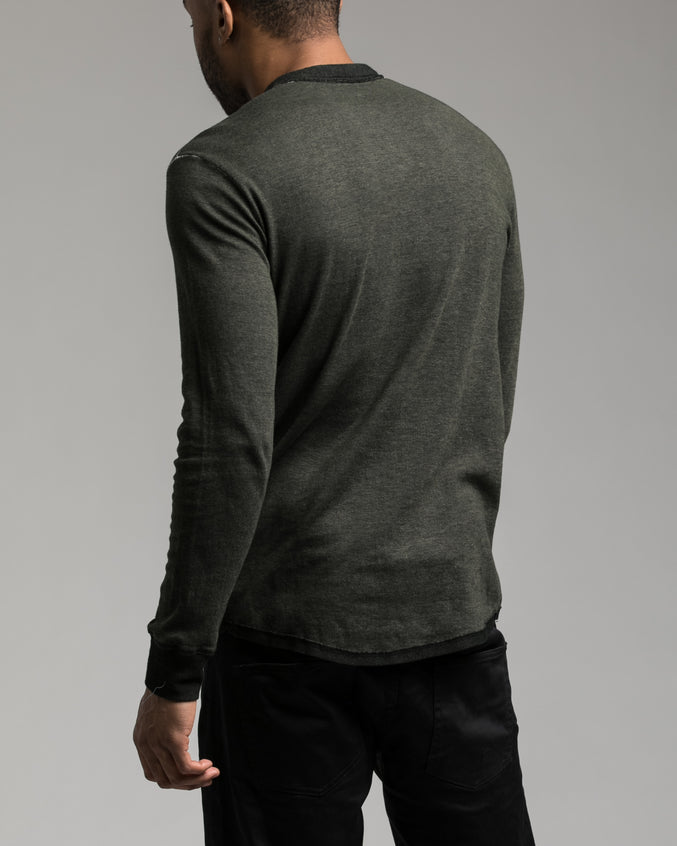 Long Sleeve Henley Tee - Color: Olive Night | Green