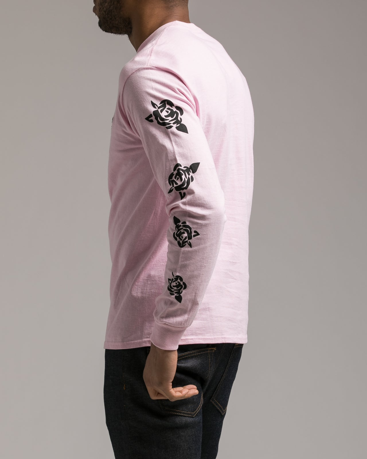 Rose Longsleeve Patch Tee - Color: Pink | Pink