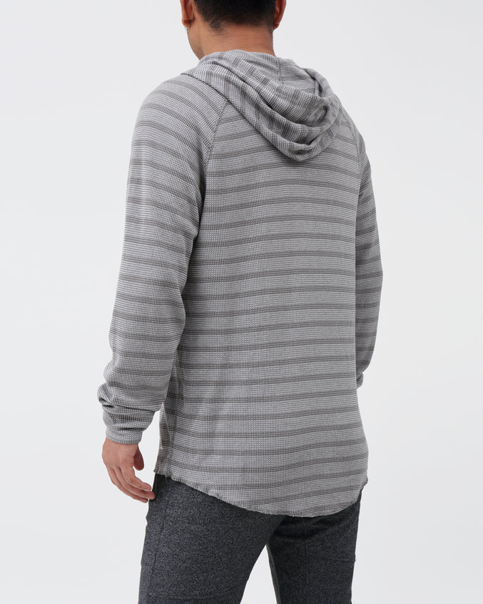 Striped Hoodie - Color: Smoked Pearl/White | Gray
