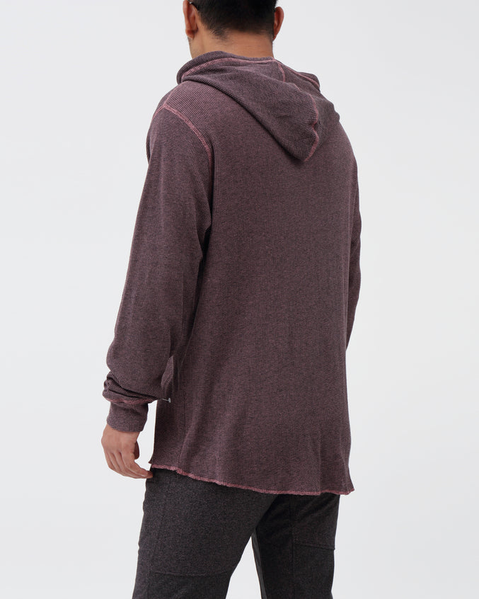 Waffle Hoodie - Color: Black/ Dusty Rose | Red
