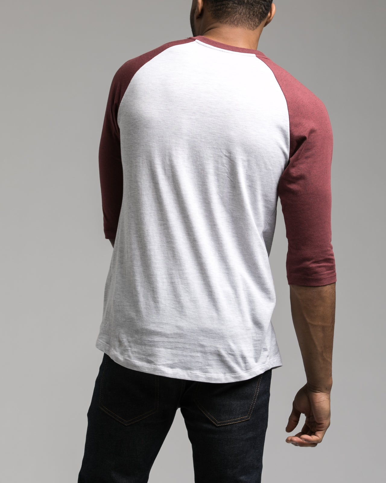 Contrast Heather Henley Tee - Color: Port Heather | Red