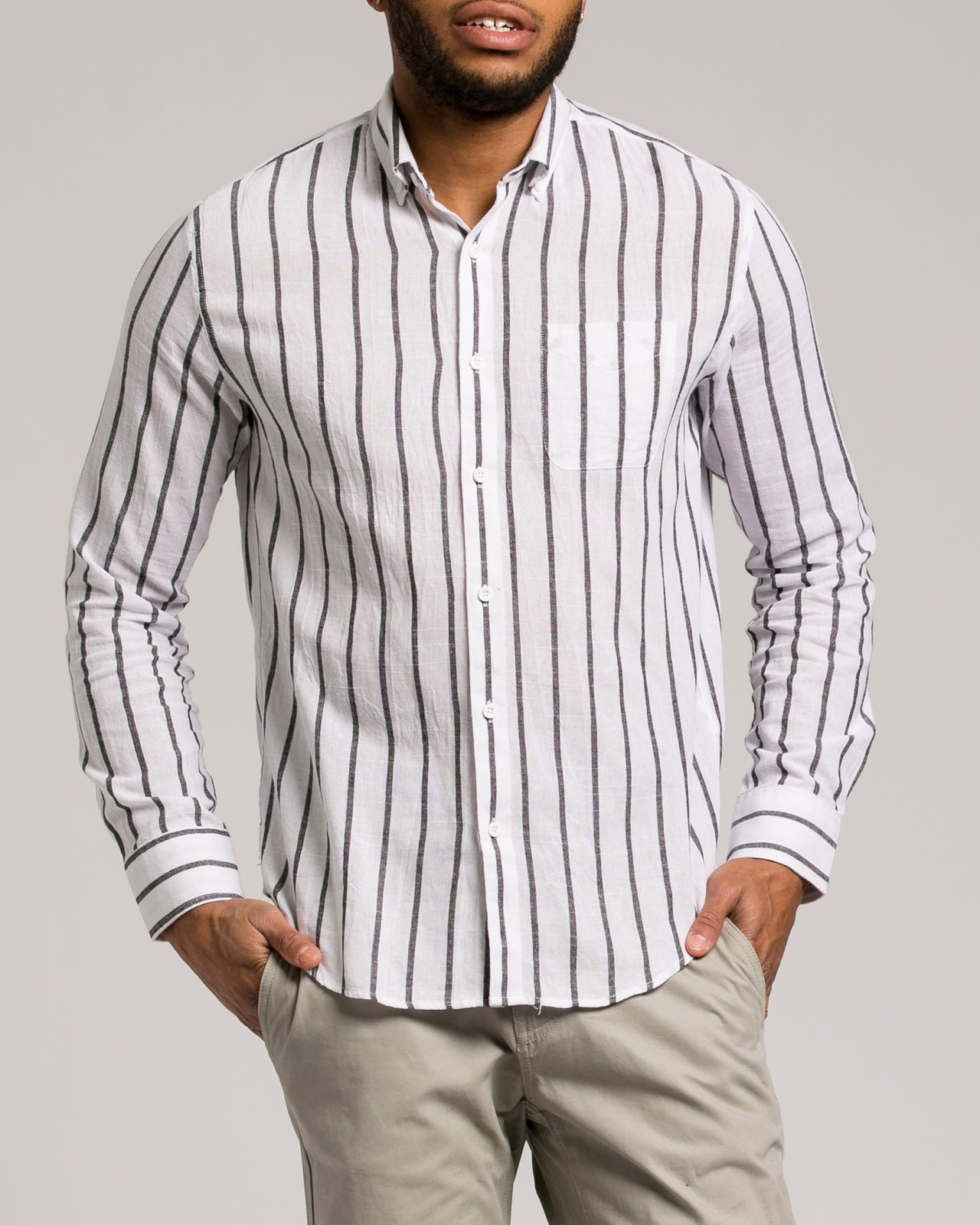 Bank Stripe Shirt - Color: White | White