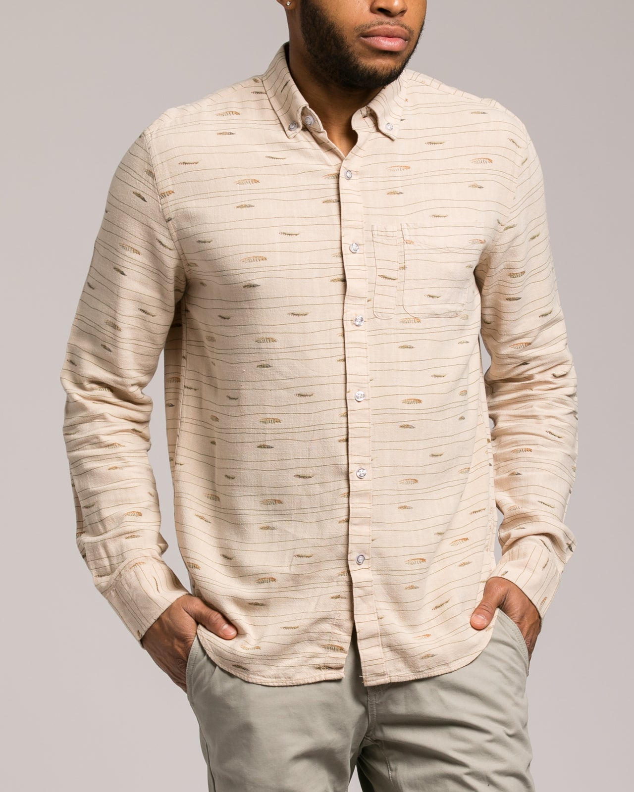 Feather Print Shirt - Color: Beige | Beige