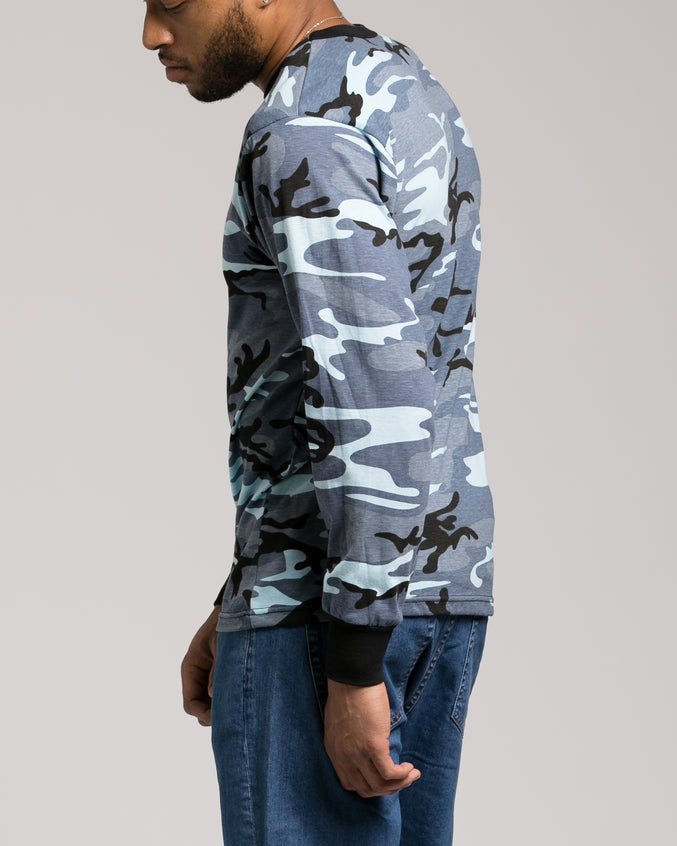 Color Camo Long Sleeve Tee - Color: Sky Blue Camo | Blue