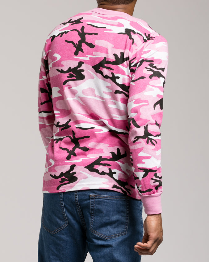 Color Camo Long Sleeve Tee - Color: Pink Camo | Pink
