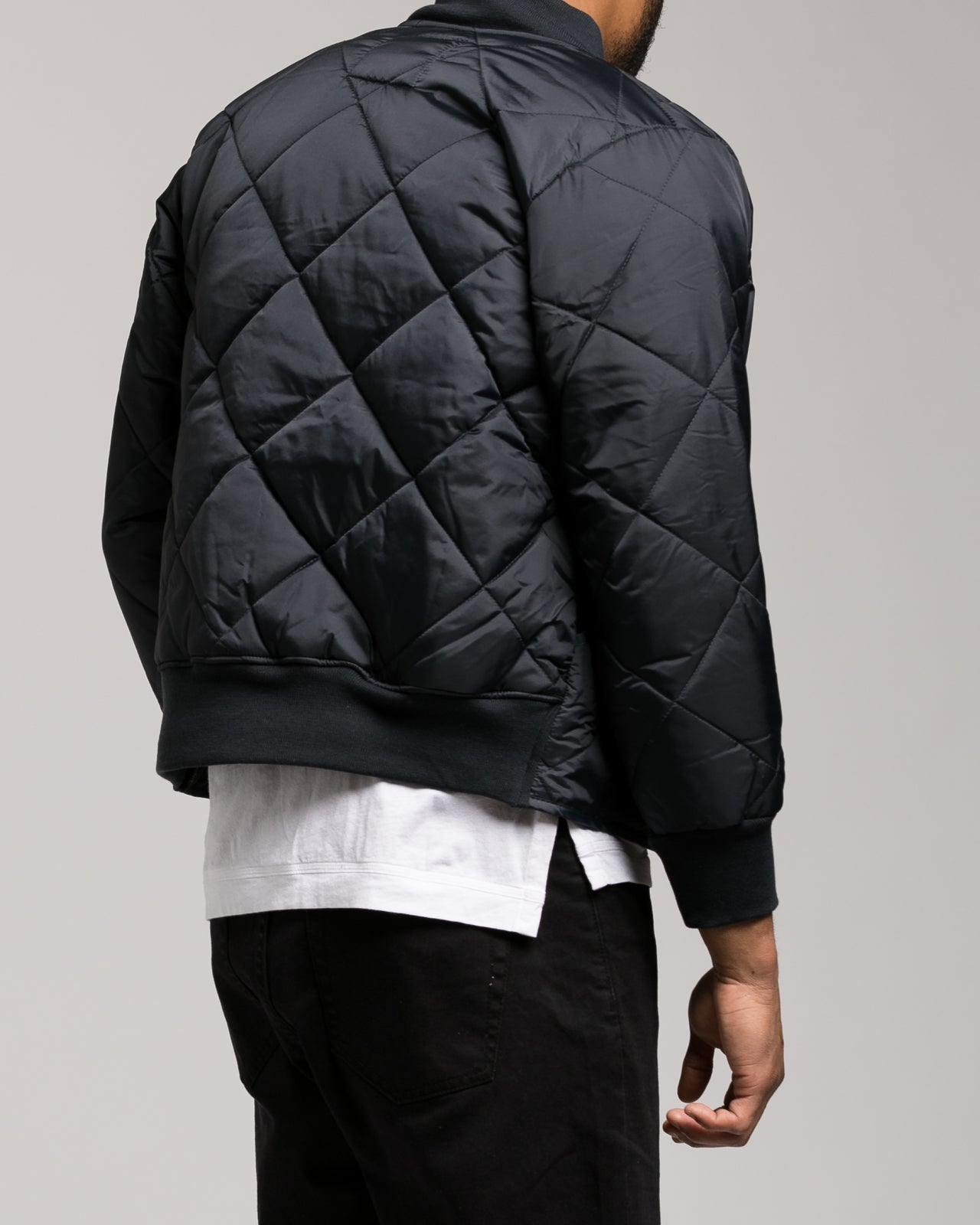 Diamond Quilted Flight Jacket - Color: Navy Blue | Blue