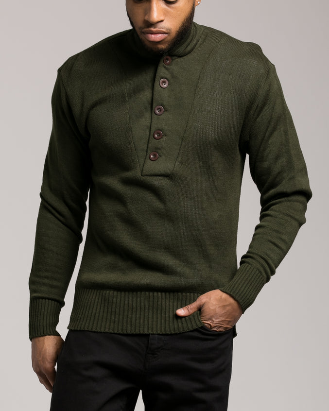 GI 5 Button Sweater - Color: Olive Drab | Green