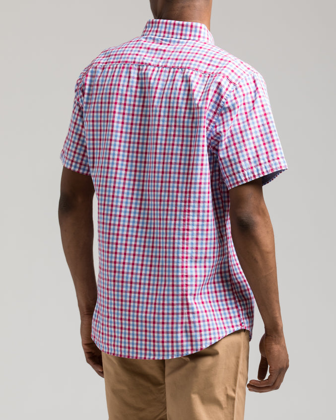Short Sleeve Plaid Shirt - Color: Red Plaid | Red