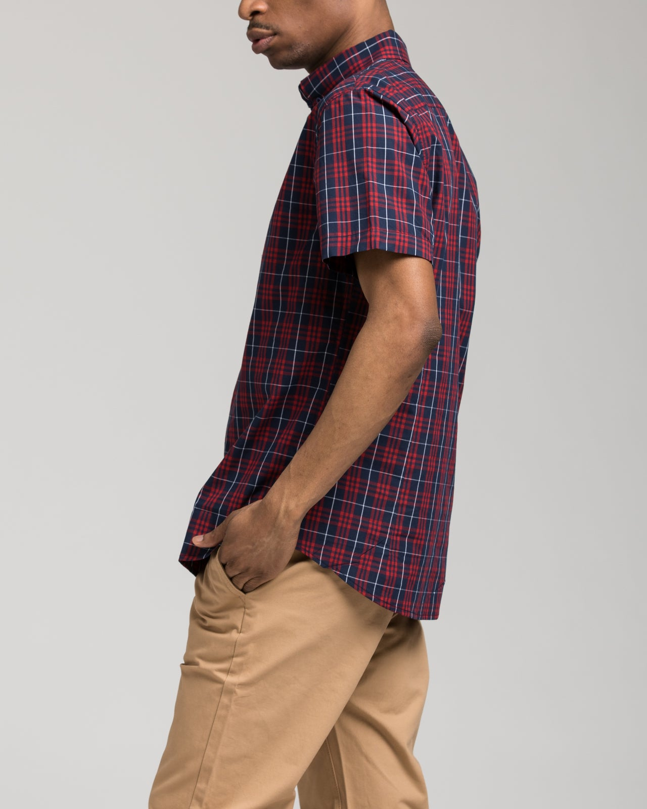 Short Sleeve Plaid Shirt - Color: Red | Red
