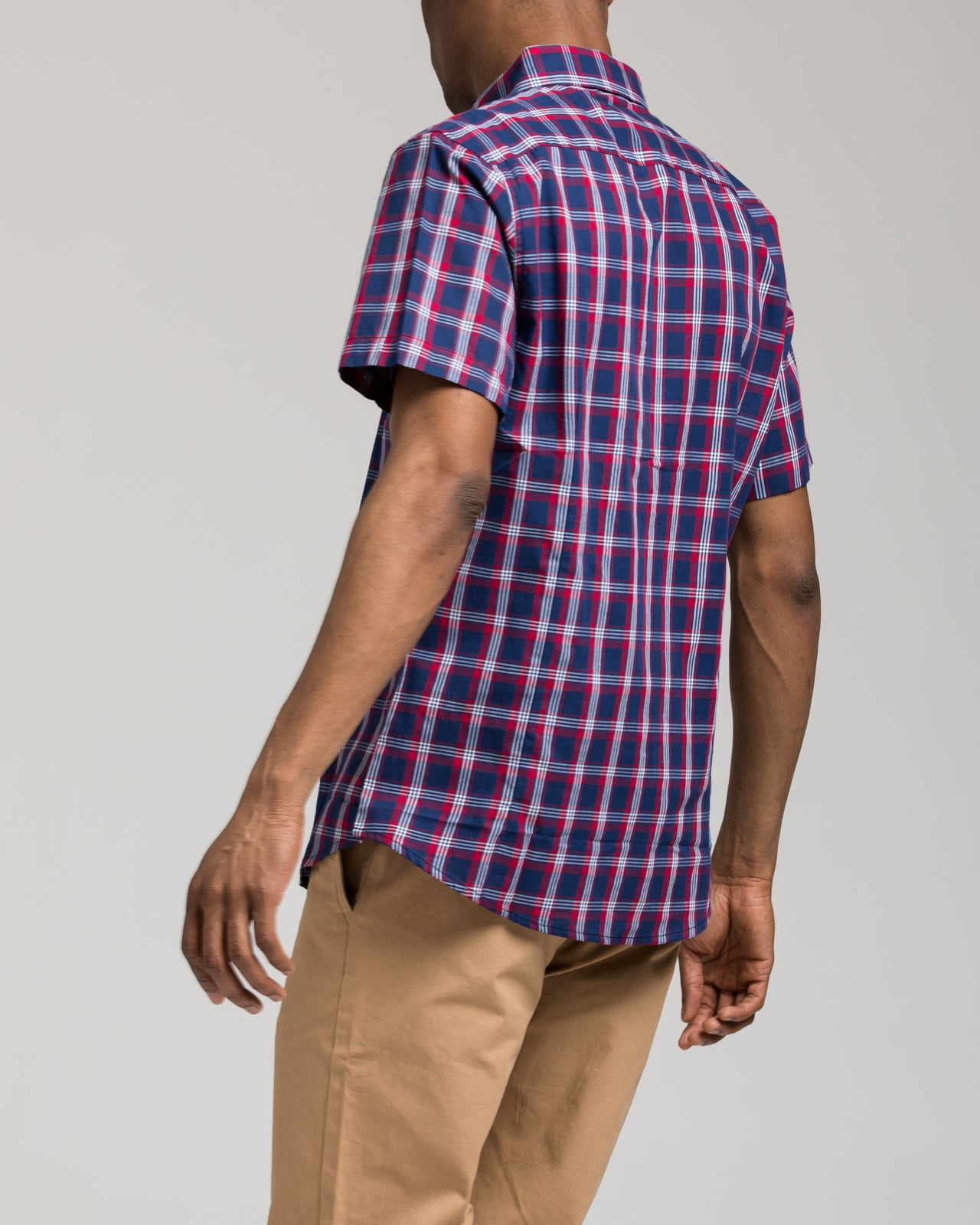 Short Sleeve Plaid Shirt - Color: Red/Navy | Blue