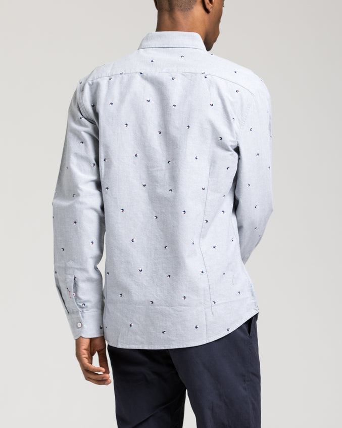Long Sleeve Pattern Shirt - Color: Grey | Gray