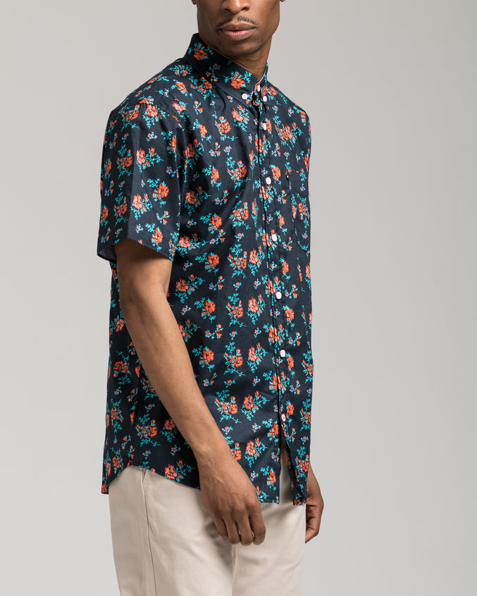 Short Sleeve Floral Shirt - Color: Black | Black