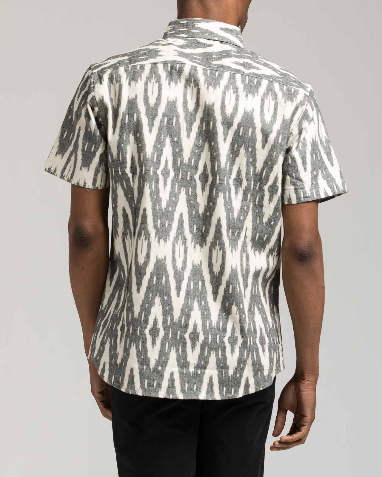 Short Sleeve Ikat Shirt - Color: White/Grey | White