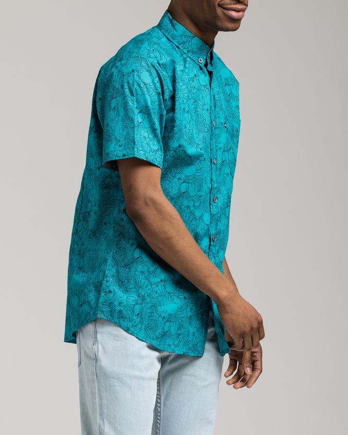 Short Sleeve Floral Shirt - Color: Teal | Blue