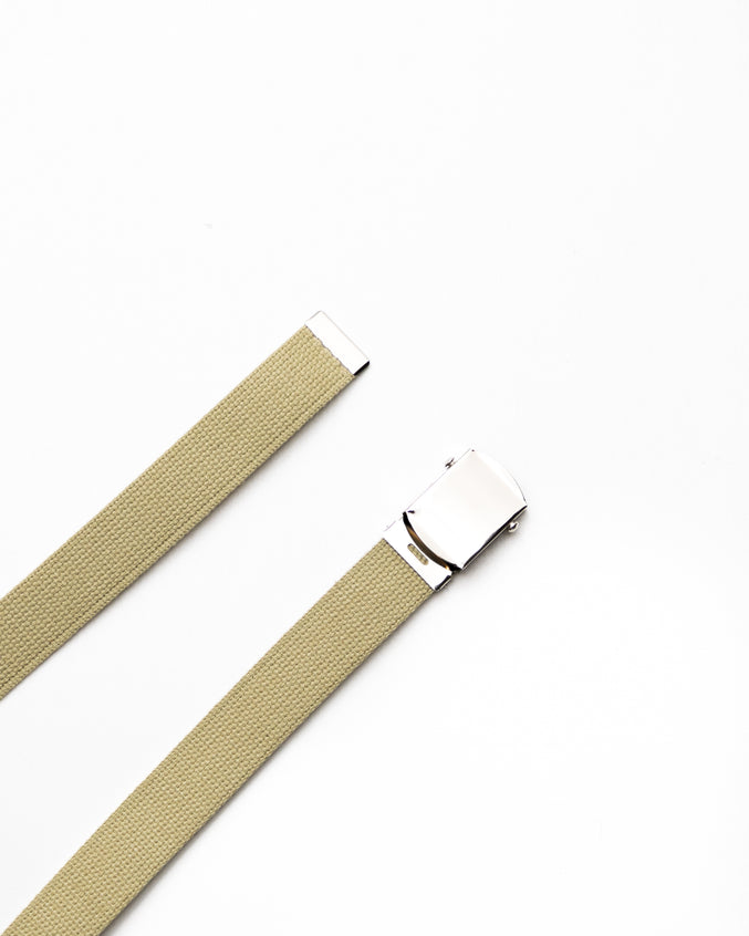 Web Belt - Color: Khaki/Chrome | Beige