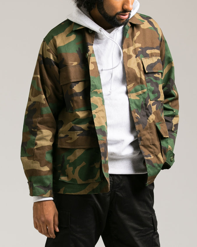 B.D.U. Shirt Jacket - Color: Woodland Camo | Green