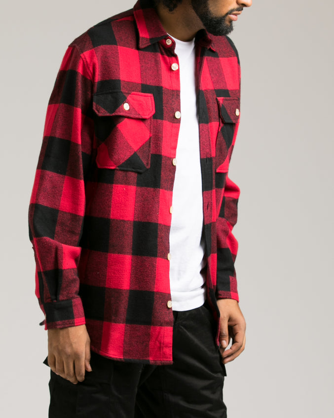 Heavyweight Flannel Shirt - Color: Red | Red