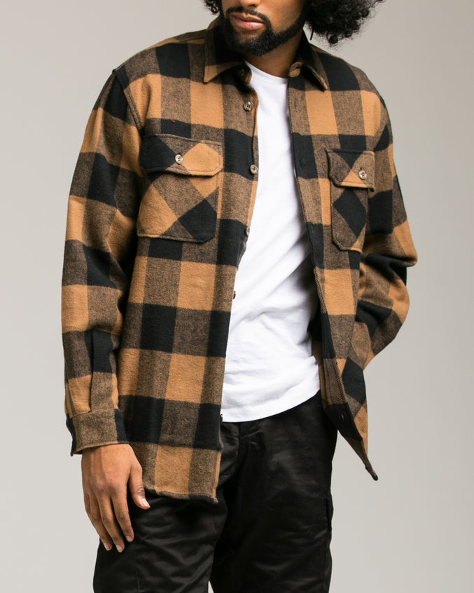 Heavyweight Flannel Shirt - Color: Brown | Brown