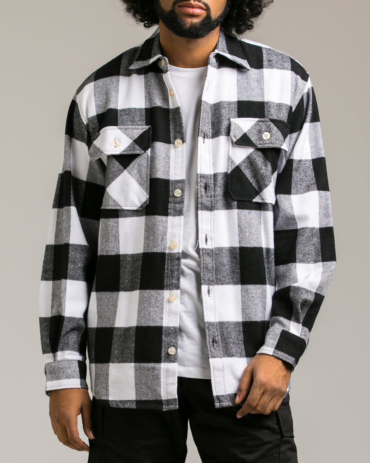 Heavyweight Flannel Shirt - Color: White | White