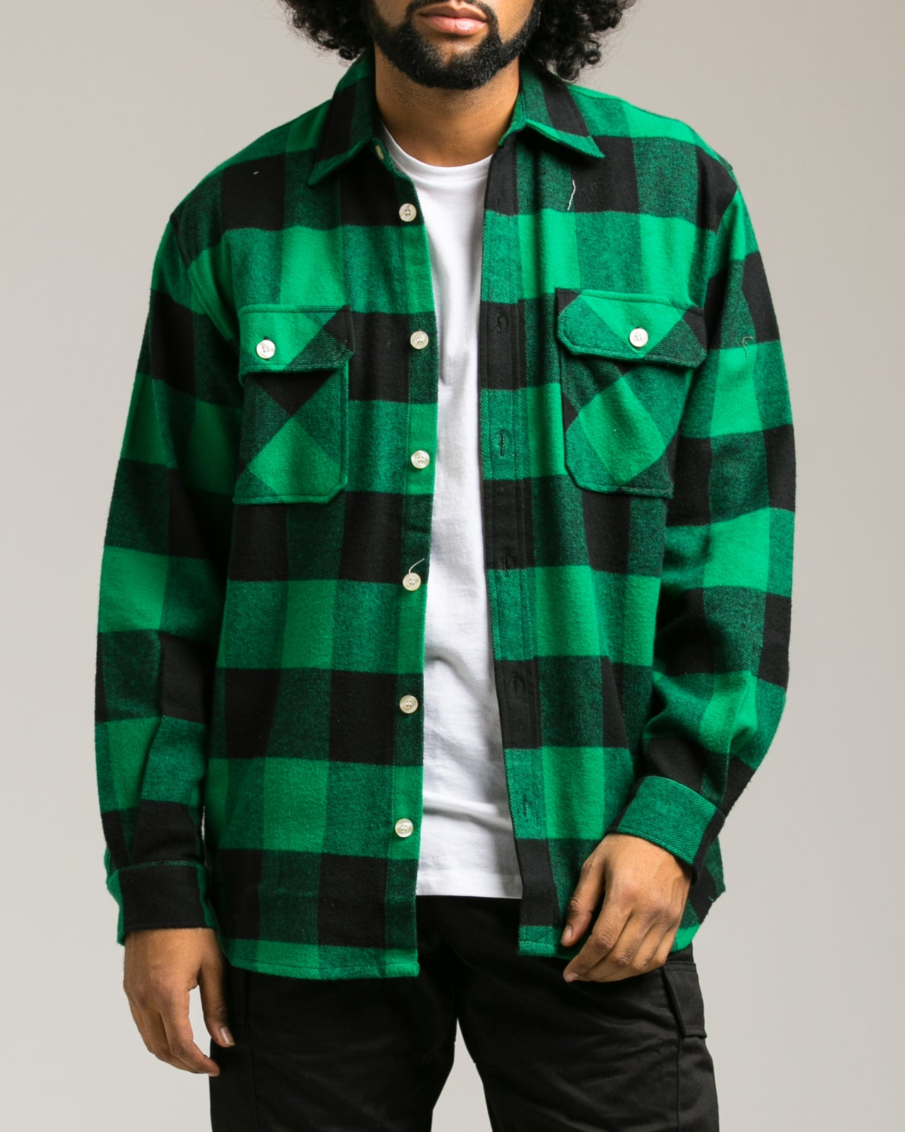 Heavyweight Flannel Shirt - Color: Green | Green