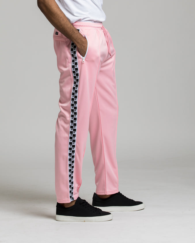 Checkered Flag Track Pant - Color: Pink | Pink