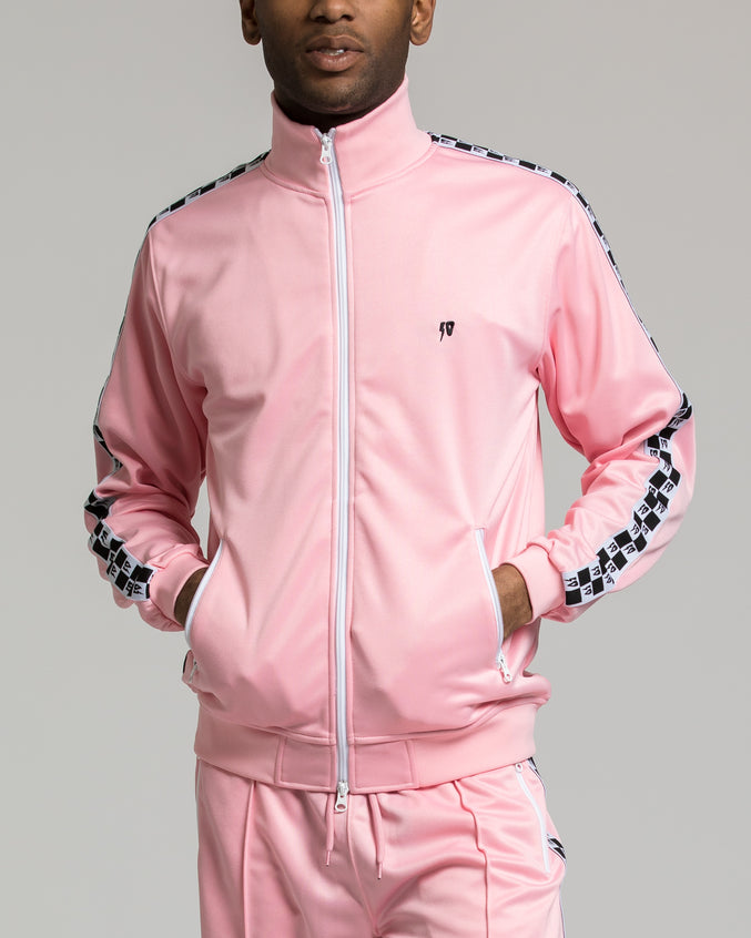 Checkered Flag Tack Jacket - Color: Pink | Pink