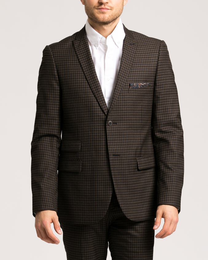 Ashton Peak Jacket - Color: Brown Navy Check | Brown