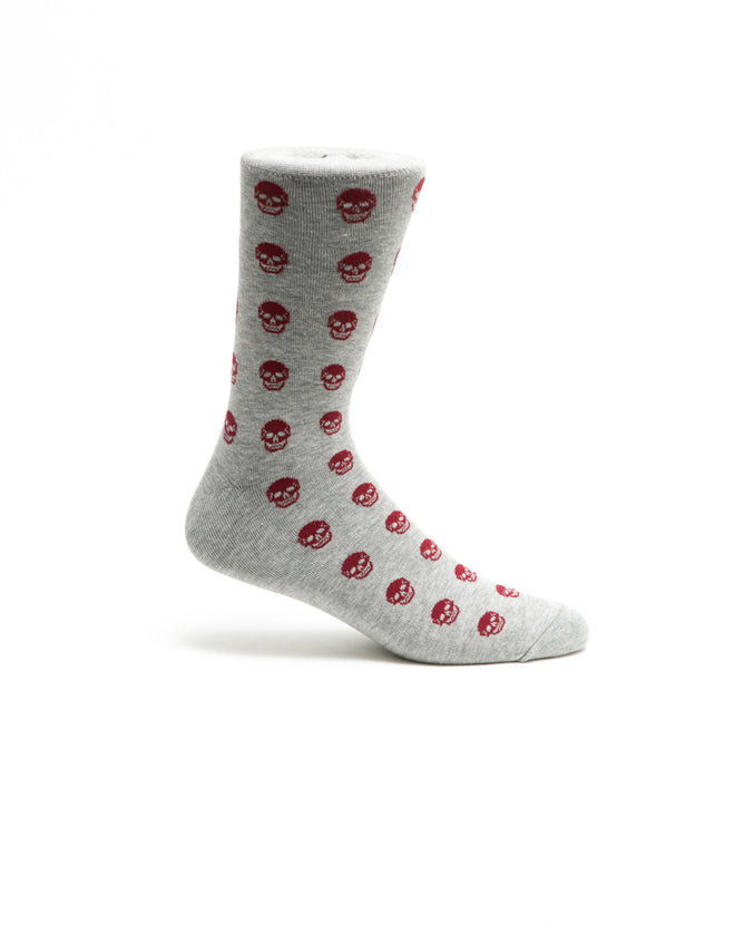 Skulls Crew Sock - Color: Gray | Gray