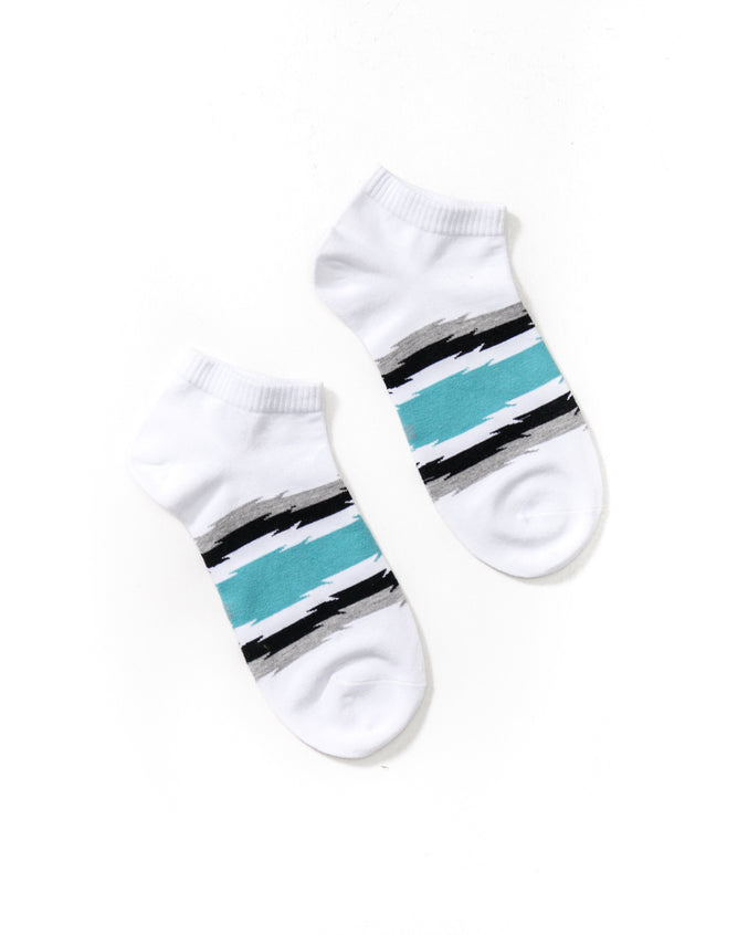 Stripe Ankle Sock - Color: White/Teal| White