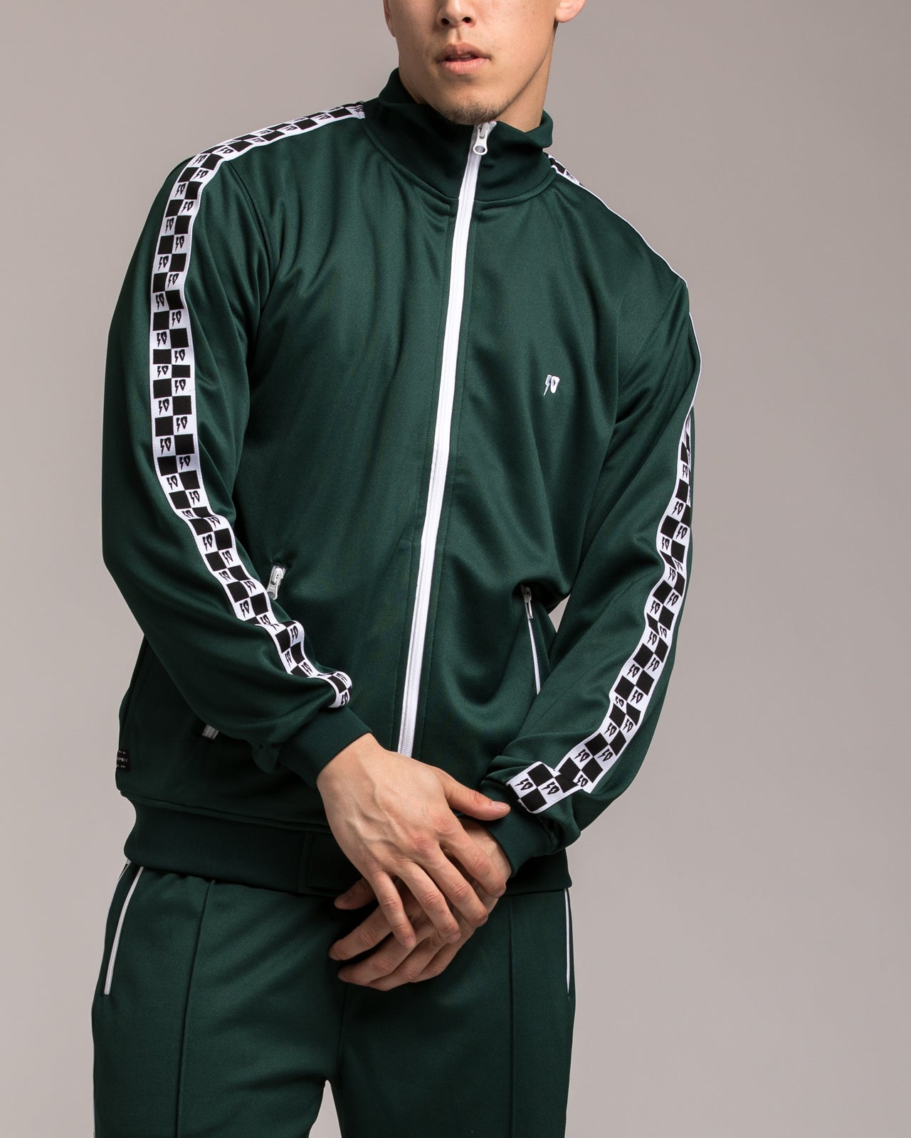 Checkered Flag Track Zip - Color: Green | Green