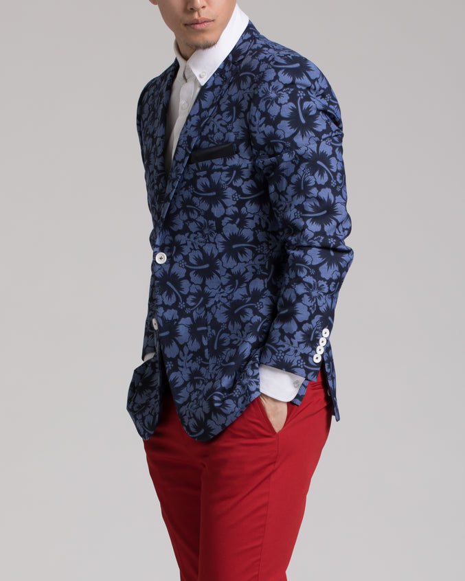 Dover Notch Jacket - Color: Navy Floral | Blue