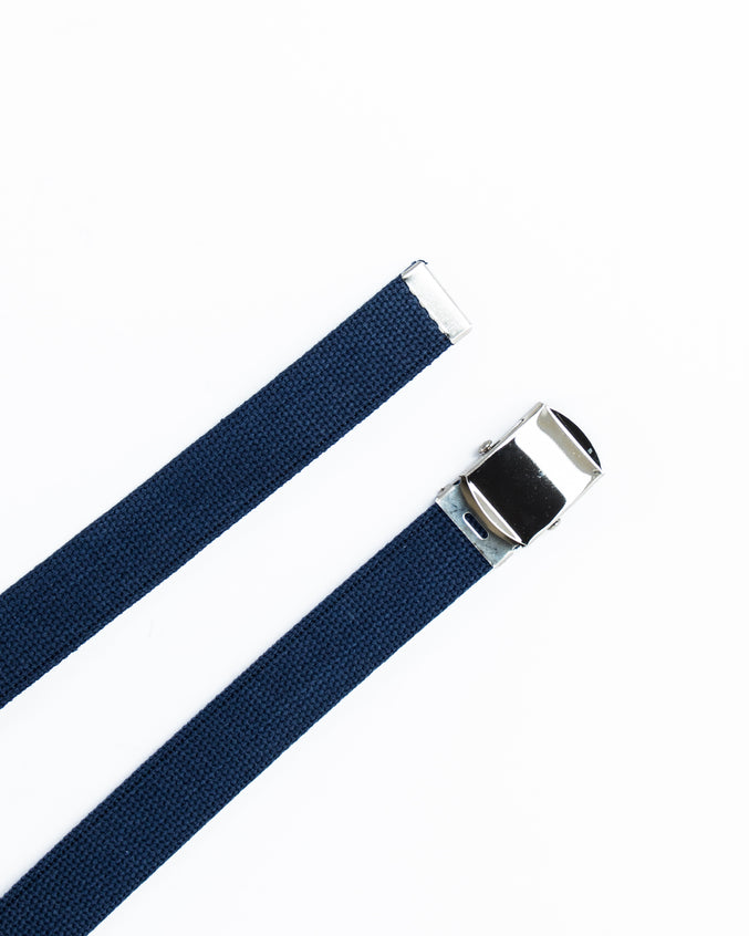 Web Belt- Color: Navy Chrome | Blue
