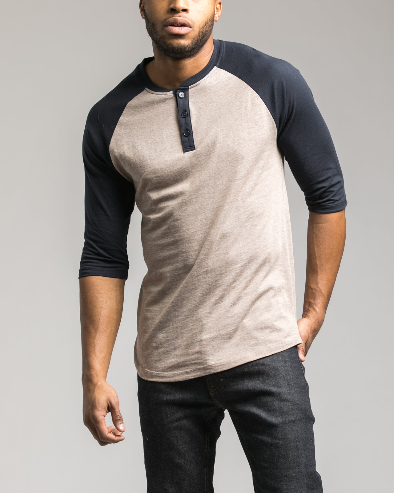 Contrast Heather Henley Tee - Color: Toasted Coconut | Beige