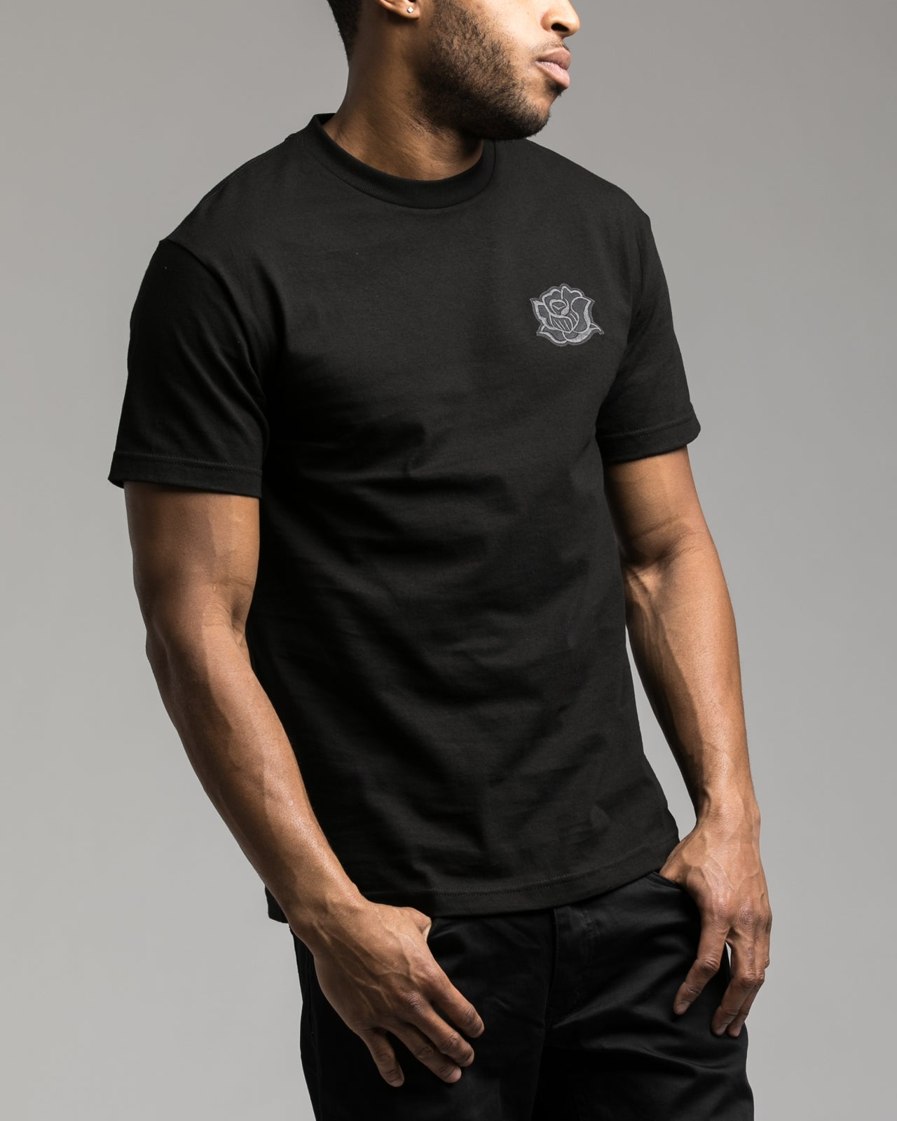 Black Rose Patch Tee - Color: Black | Black