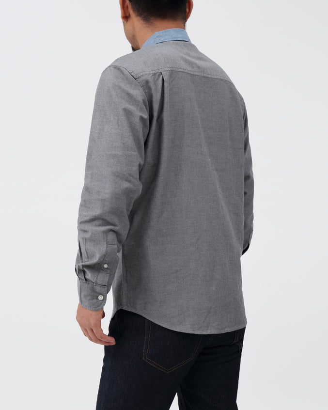 Contrast Collar LS Shirt - Color: Black | Black