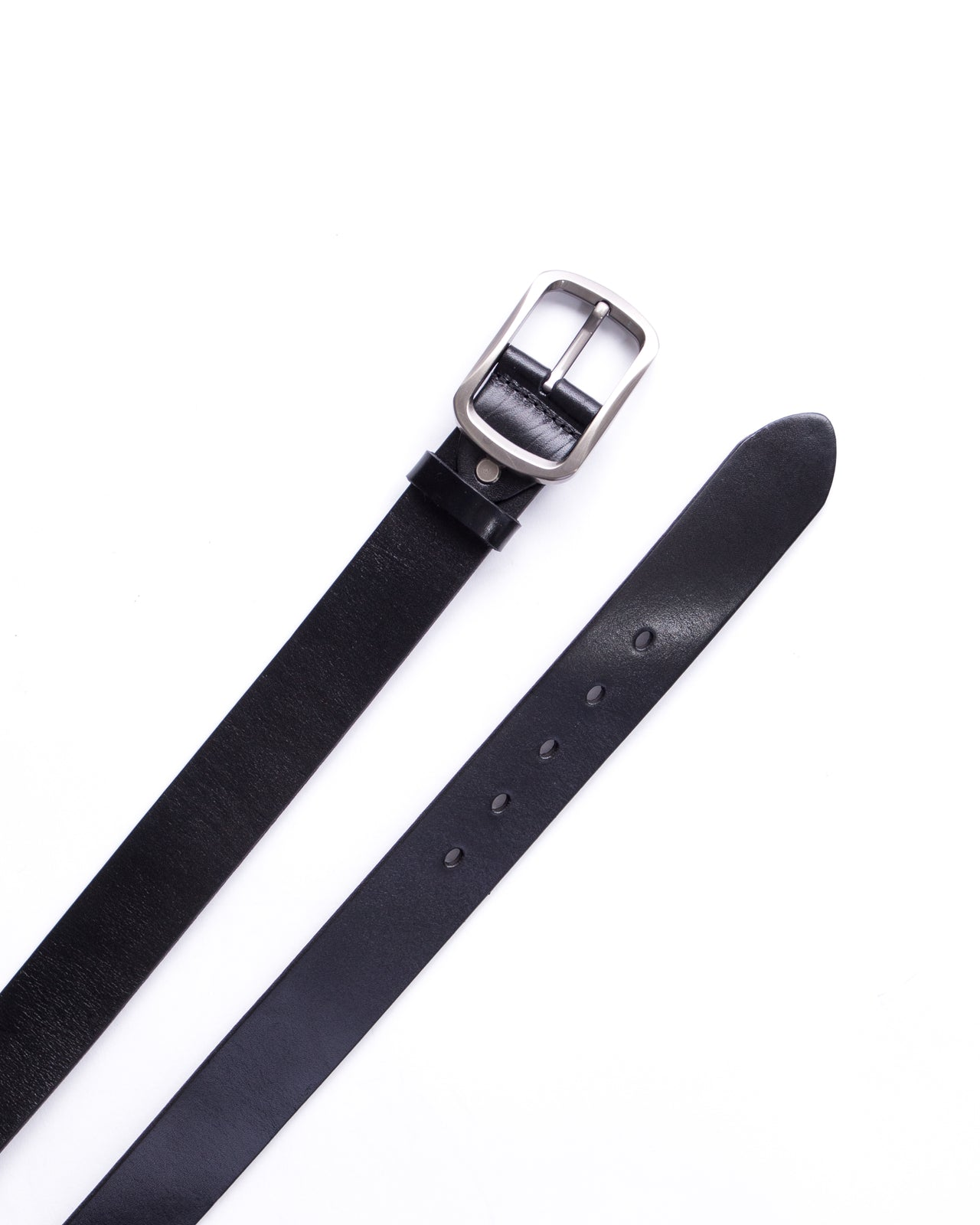 Leather Belt - Color: Black/Silver | Black