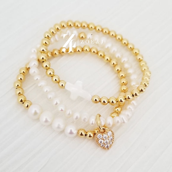 Kids Faith + Love Gold Beaded Bracelets
