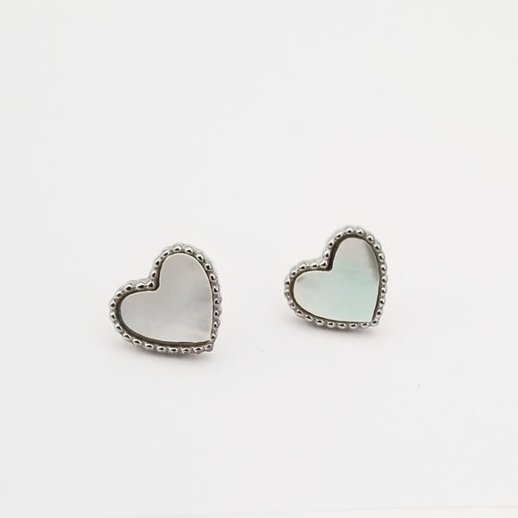 Silver Pearl Heart Earrings