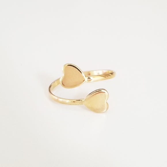 Double Open Heart Gold Ring