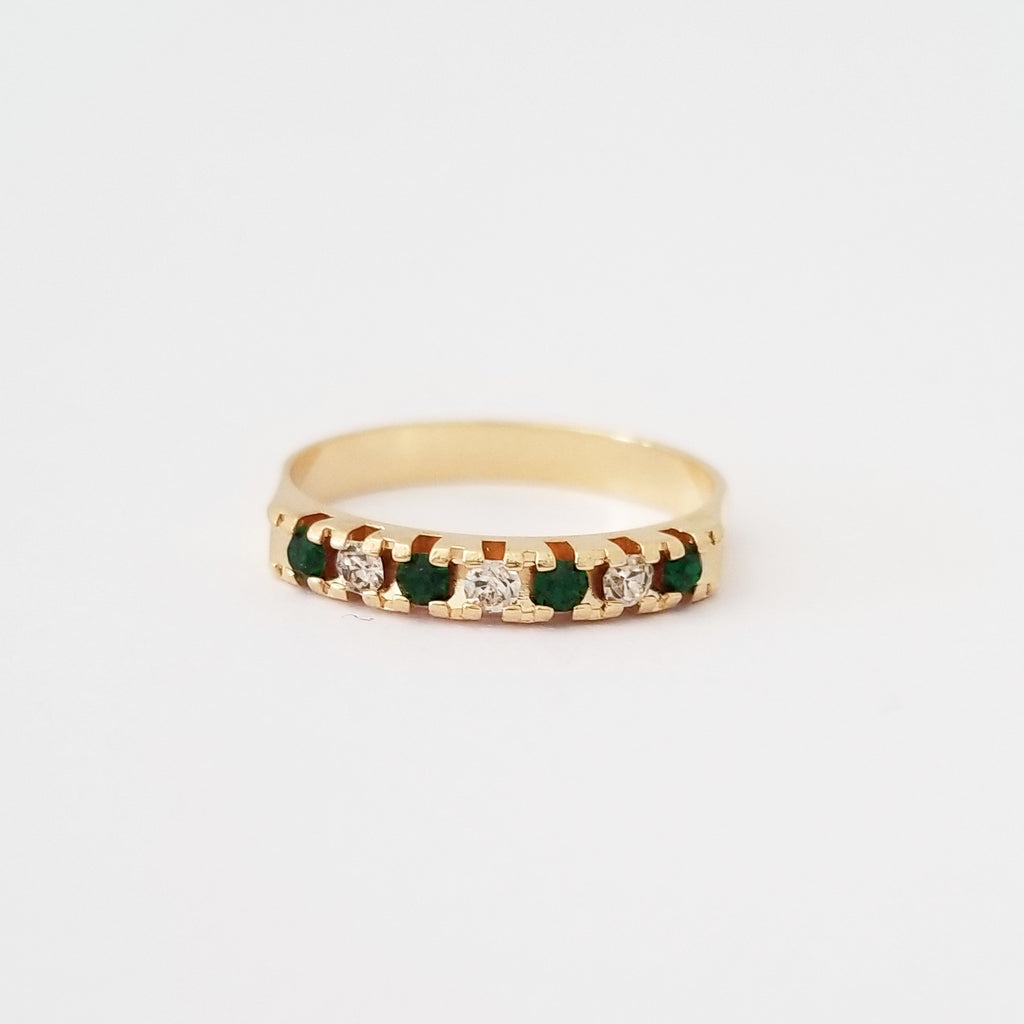 Emerald + White Stackable Ring