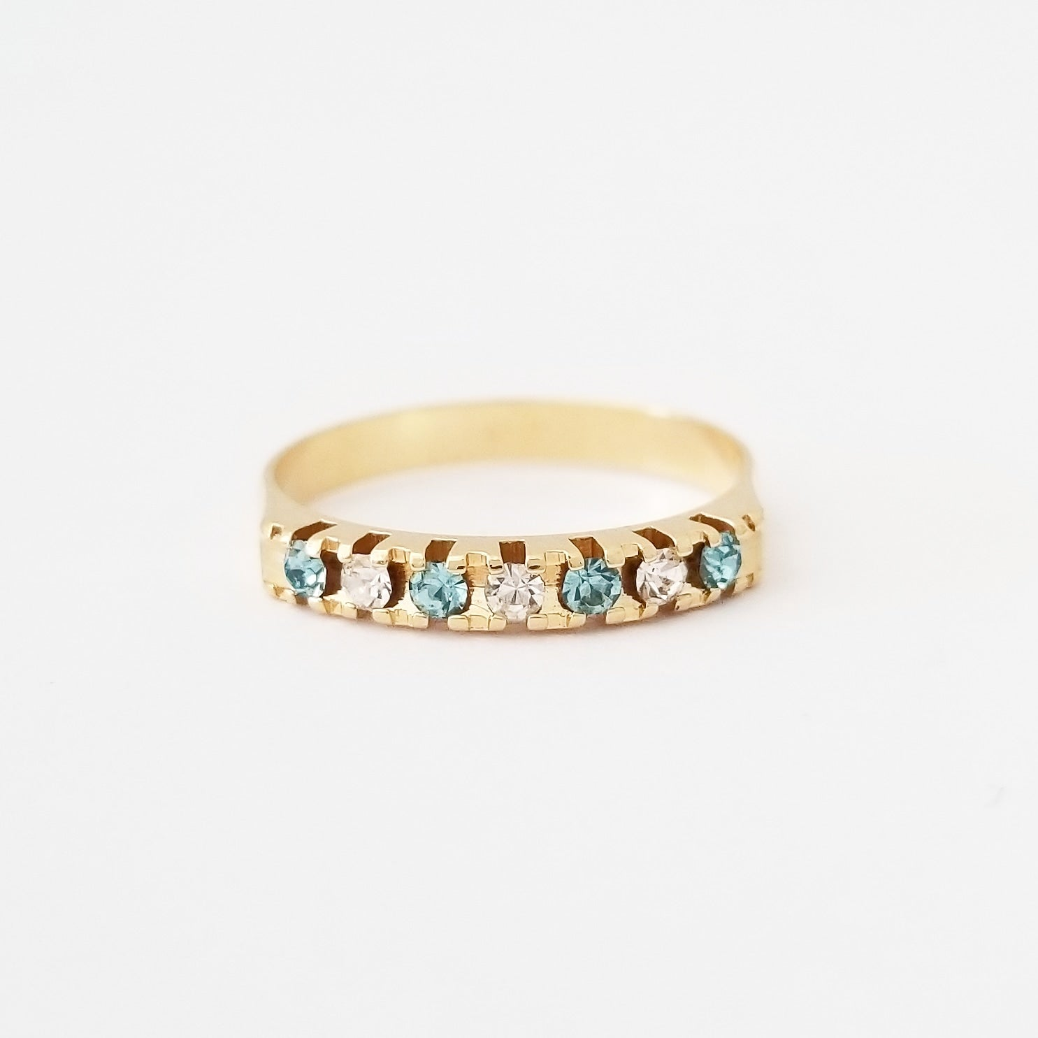 Aquamarine + White Stackable Ring